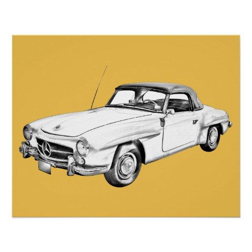 Mercedes benz 300 sl classic car illustration poster zazzle for Vintage mercedes benz posters