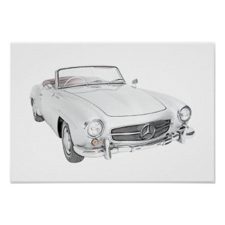 Mercedes classic convertible poster