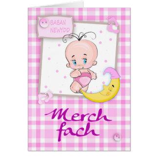 Merch fach, Baban Newydd - Welsh New Baby Girl Wit Card