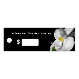 Merchandise Price Tags (Magnolia on Black) Double-Sided Mini Business Cards (Pack Of 20)