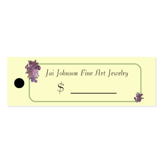 Merchandise Price Tags (Purple Flowers) Mini Business Card