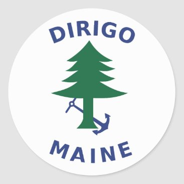 Merchant and Marine Flag of Maine Classic Round Sticker