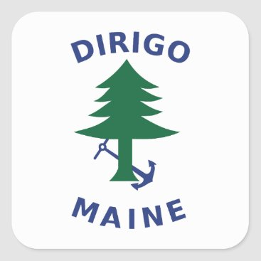 Merchant and Marine Flag of Maine Square Sticker