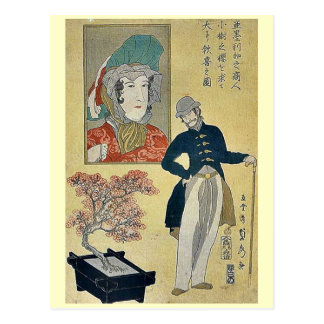 Merchant delighted with a tree by Utagawa,Sadahide Postcard