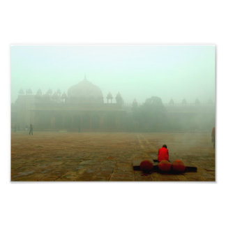 Merchant Surrounded by Pollution Photographic Print