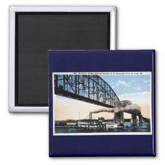 Merchants Bridge, Mississippi River, St. Louis, MO 2 Inch Square Magnet