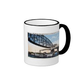 Merchants Bridge, Mississippi River, St. Louis, MO Ringer Coffee Mug