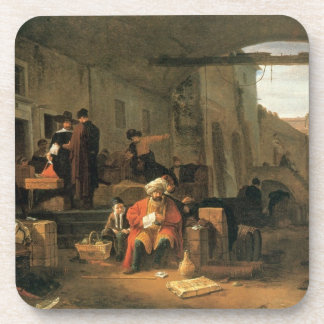 Merchants from Holland and the Middle East trading Beverage Coaster