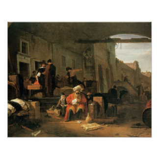 Merchants from Holland and the Middle East trading Poster