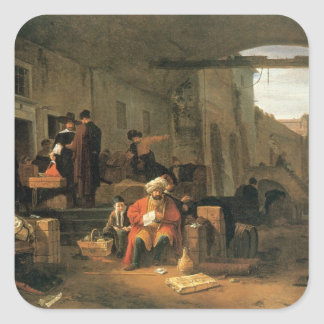 Merchants from Holland and the Middle East trading Square Sticker