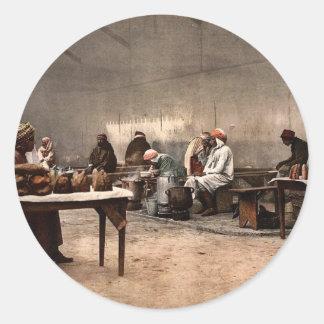 Merchants of eatables, Bona, Algeria vintage Photo Round Stickers