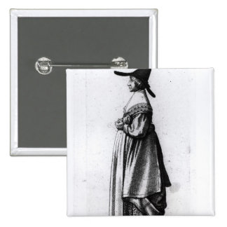 Merchant's Wife, 1640 2 Inch Square Button