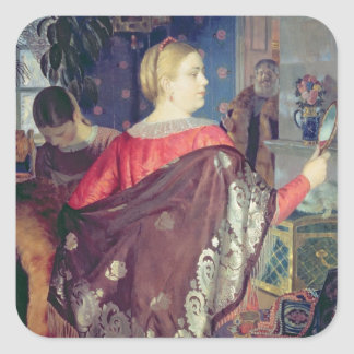 Merchant's woman with a mirror square sticker