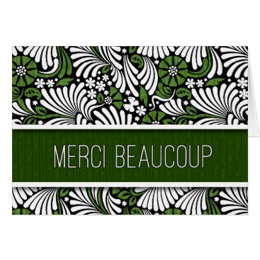 Professional Business Merci Beaucoup French Thank You Green Fern Blank Card