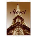 Merci Eiffel Tower Paris Thank You Card Brown