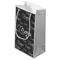 """""""Merci"""" French Quote Black & White Pattern Small Gift Bag"""