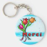 MERCI  French Thank You cartoon flowers keychain