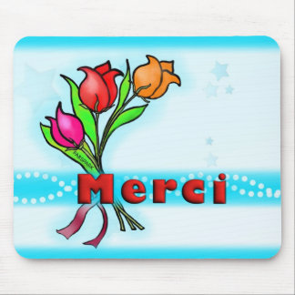 MERCI  French Thank You flowers drawing Greeting Mouse Pad