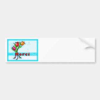 MERCI  French Thank You fun flowers cartoon Bumper Sticker