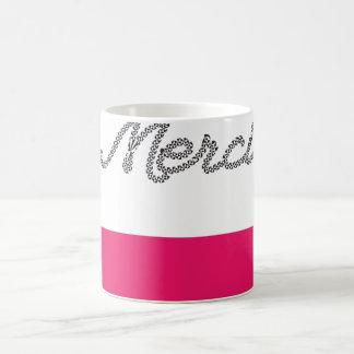 Merci French Word Thank You Pink Typography Cute Coffee Mug