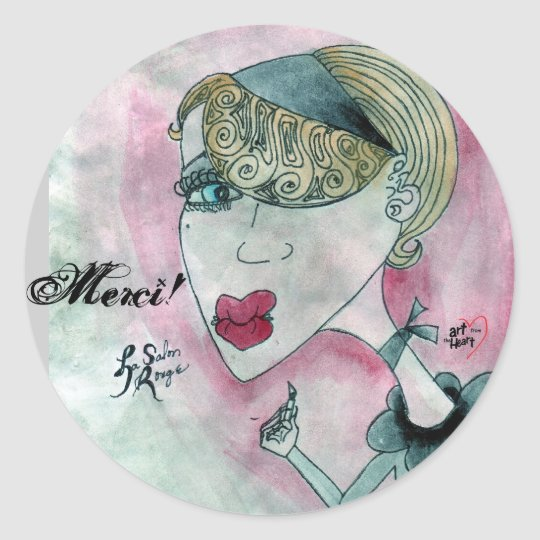 Merci! Lady No. 5_La Salon Rouge Classic Round Sticker