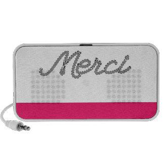 Merci Pink French Word Scribble Black Typography Laptop Speakers