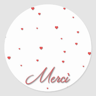Merci Red Hearts Stickers