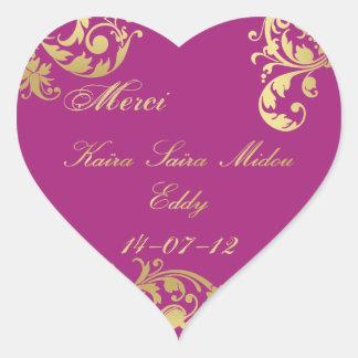 Merci Seal - Fuschia Gold Floral Wedding Sticker