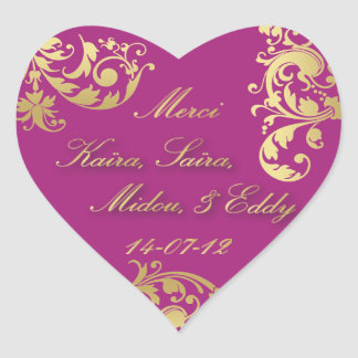 Merci Seal - Fuschia & Gold Floral Wedding Sticker