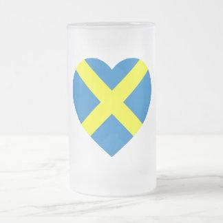 Mercia Flag Heart Frosted Glass Beer Mug