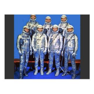 mercurio 7 astronautas tarjetas postales