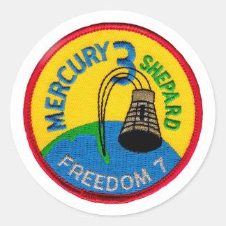 Mercury 3: Pastor de Alan de la libertad 7 Pegatina Redonda