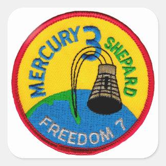 Mercury 3: Pastor de Alan de la libertad 7 Calcomania Cuadradas