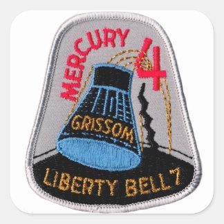 Mercury 4: Gus Grissom de Liberty Bell 7 Pegatina Cuadrada