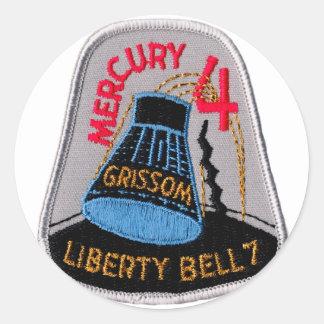 Mercury 4: Gus Grissom de Liberty Bell 7 Pegatina Redonda