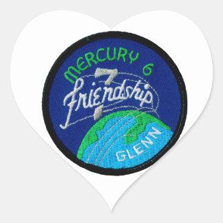 Mercury 6: Amistad 7 - John Glenn Pegatina En Forma De Corazón