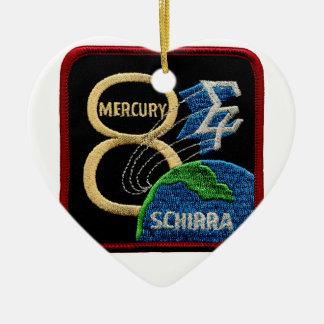 Mercury 8: Sigma 7 – Wally Schirra Double-Sided Heart Ceramic Christmas Ornament