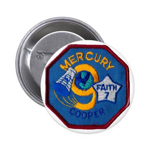 Mercury 9:  Faith 7 – L. Gordon Cooper Pinback Buttons