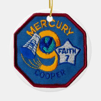 Mercury 9:  Faith 7 – L. Gordon Cooper Double-Sided Ceramic Round Christmas Ornament