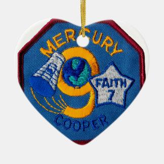Mercury 9:  Faith 7 – L. Gordon Cooper Double-Sided Heart Ceramic Christmas Ornament
