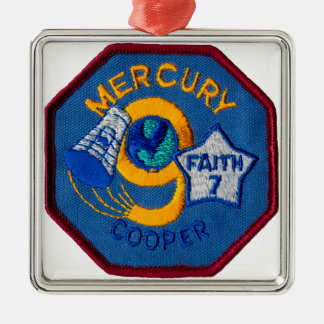 Mercury 9:  Faith 7 – L. Gordon Cooper Square Metal Christmas Ornament
