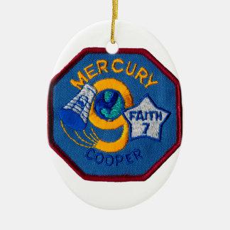 Mercury 9:  Faith 7 – L. Gordon Cooper Double-Sided Oval Ceramic Christmas Ornament