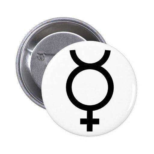 Mercury alchemical symbol pin