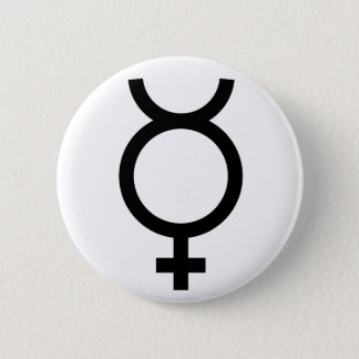 Mercury alchemical symbol pinback button