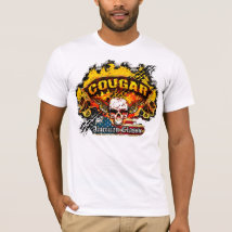 Mercury Cougar - Burnout Banner Skull -n- Flag T-Shirt