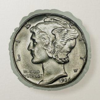Mercury Dime Coin Round Pillow