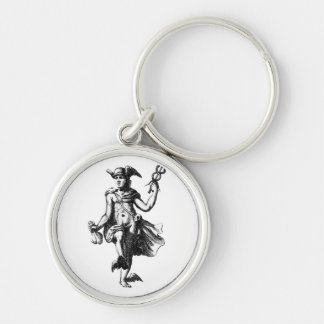 Mercury Silver-Colored Round Keychain