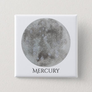Mercury Planet Watercolor Button Square