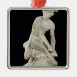 Mercury que ata sus sandalias coas alas, 1744 adorno navideño cuadrado de metal