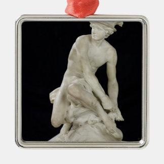 Mercury que ata sus sandalias coas alas, 1744 adorno cuadrado plateado